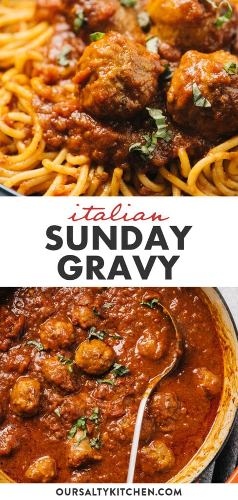 Pinterest collage for italian sunday gravy (red sauce) with meatballs and sausage.