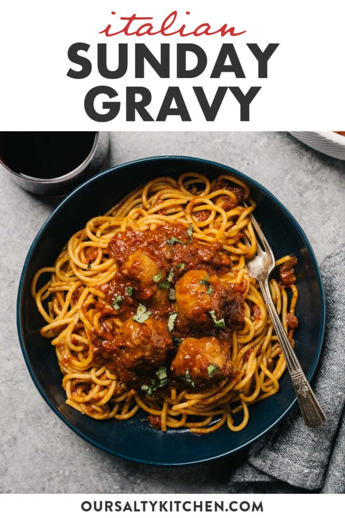 Pinterest image for italian sunday gravy (red sauce) with meatballs and sausage.