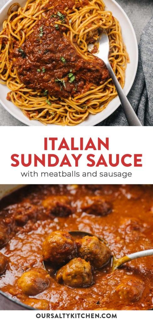 Pinterest collage for italian sunday sauce recipe.
