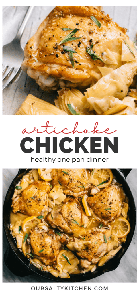 Pinterest collage for a healthy one pan artichoke chicken recipe.