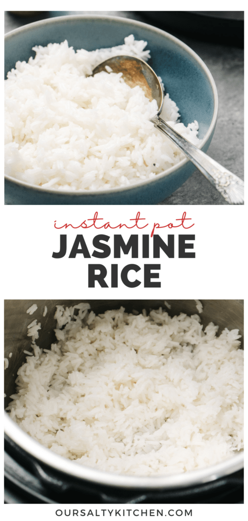 Pinterest collage for a recipe for instant pot jasmine rice.