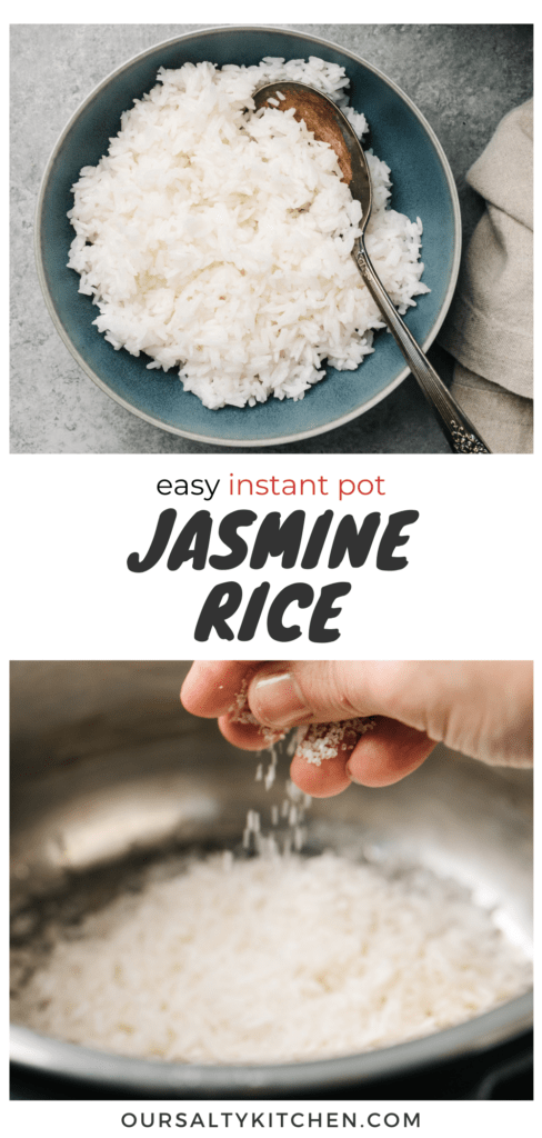 Pinterest collage for how to make rice in the instant pot.
