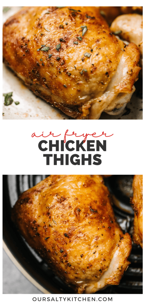 """A collage of air fryer chicken thighs on a platter and in an air fryer basket with a title bar that reads """"air fryer chicken thighs"""""""