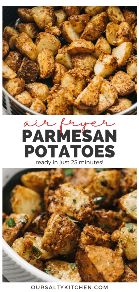 Pinterest collage for an airy fryer potatoes recipe with garlic and parmesan seasoning.