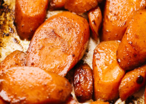 Baked carrots in a casserole dish.
