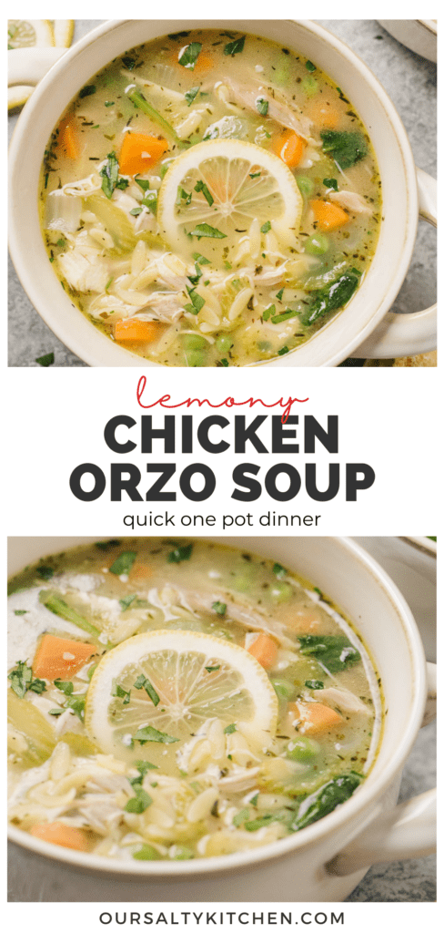 Pinterest collage for a lemon orzo chicken soup recipe.