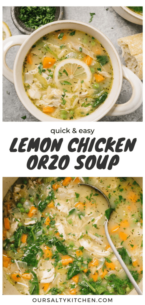 Pinterest collage for orzo soup with lemon and chicken.