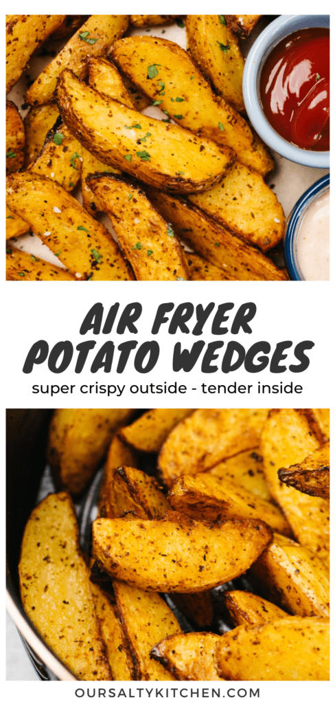 Pinterest collage for an air fryer potato wedges recipe.