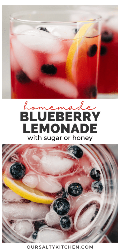 """Two glasses of blueberry lemonade and an overhead view of a pitcher of lemonade with a title bar in the middle that reads """"blueberry lemonade with sugar or honey""""."""