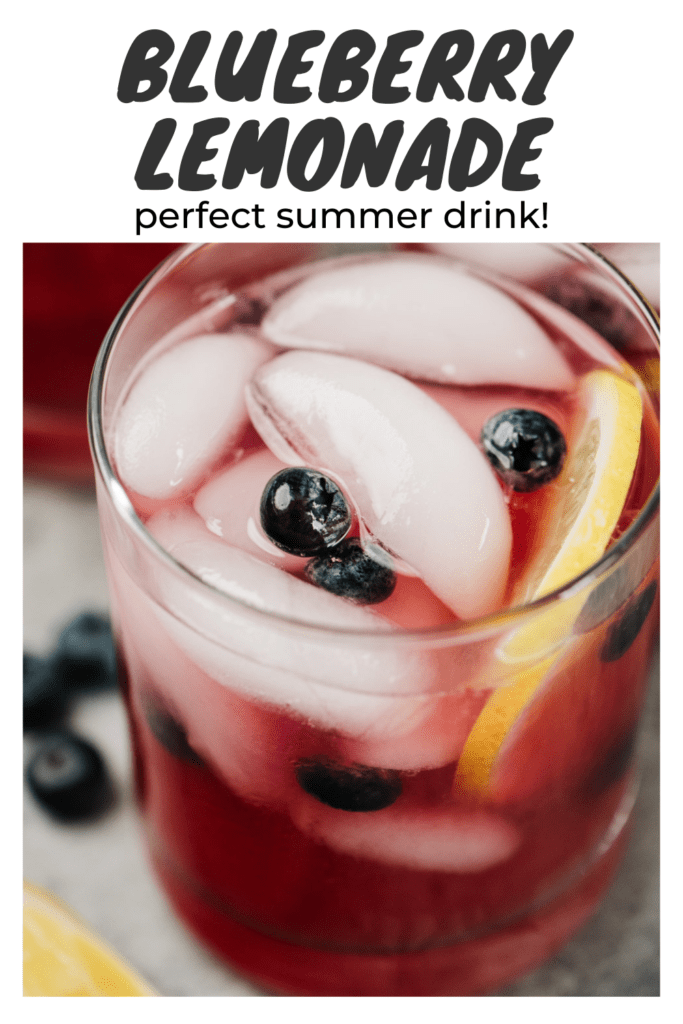 """Side view, three glasses of blueberry lemonade on a concrete background with a title bar that reads """"blueberry lemonade - perfect summer drink!""""."""