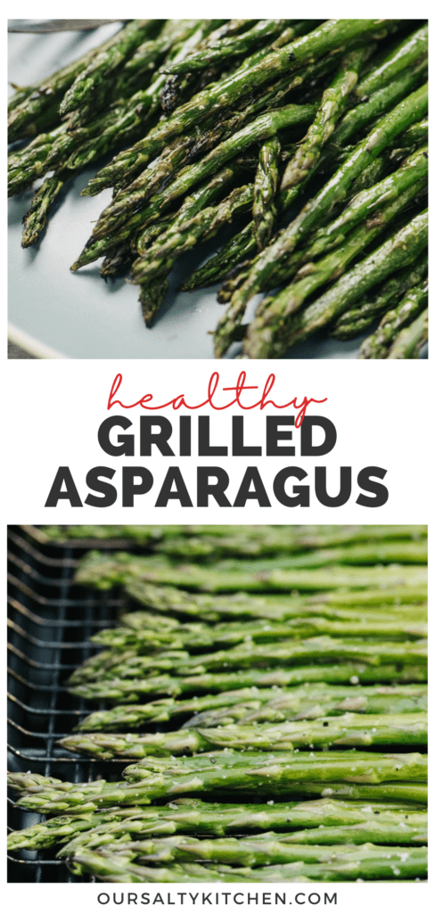 Pinterest collage for a grilled asparagus recipe.