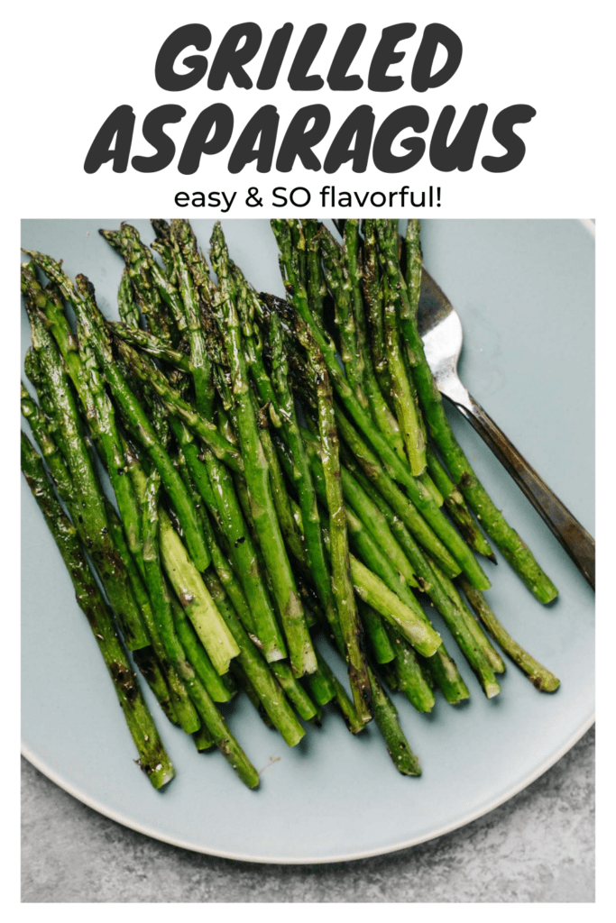 Pinterest image for a grilled asparagus recipe.