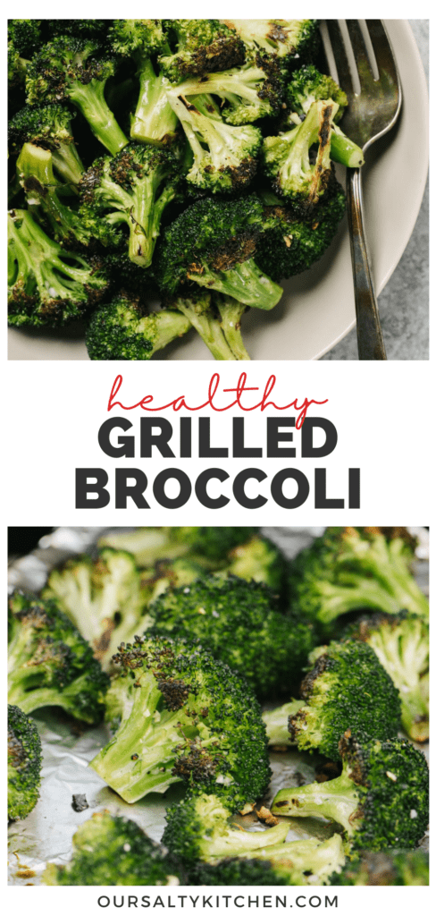 Pinterest collage for a recipe for how to grill broccoli.