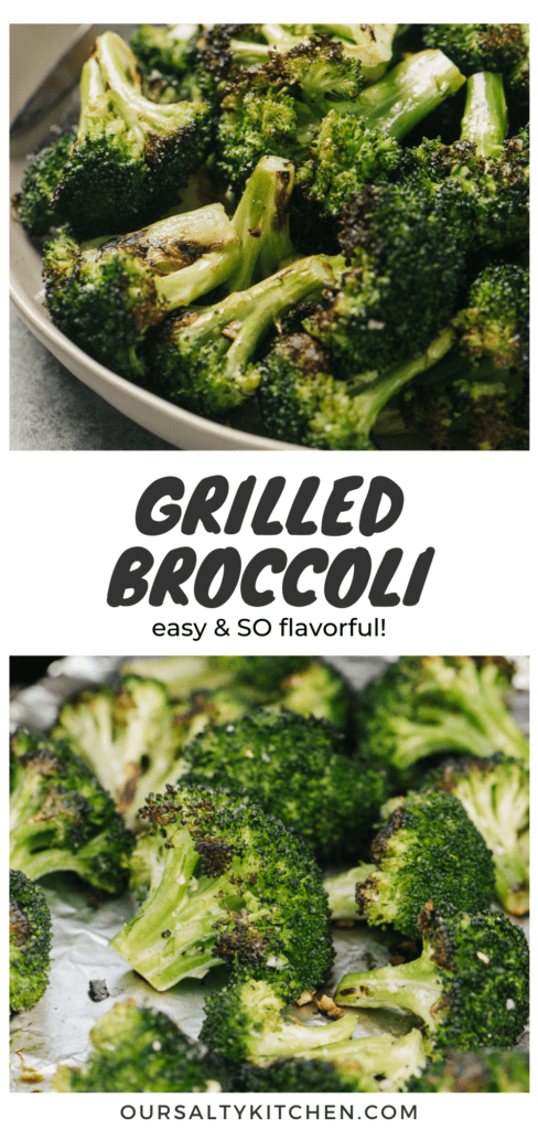 Pinterest collage for grilled broccoli florets.