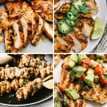 A collage of healthy grilled chicken recipes.