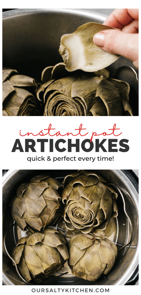 Pinterest collage for steamed artichokes in the instant pot.