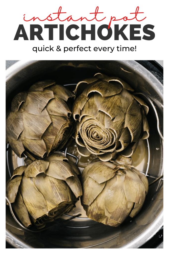 Pinterest image for steamed artichokes in the instant pot.