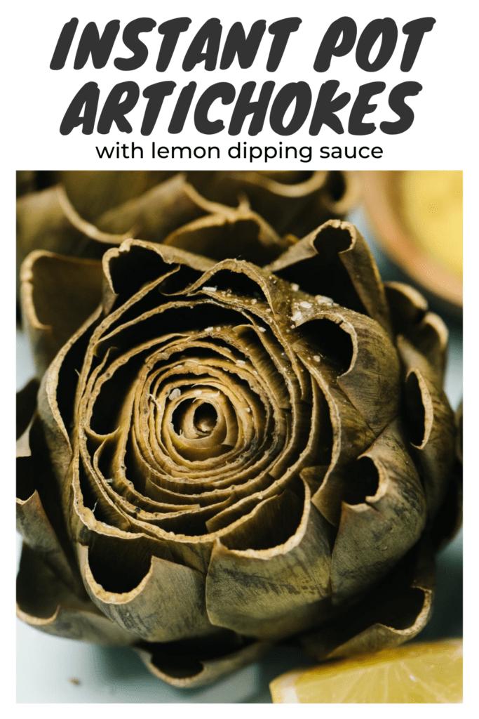 Pinterest image for instant pot artichokes.