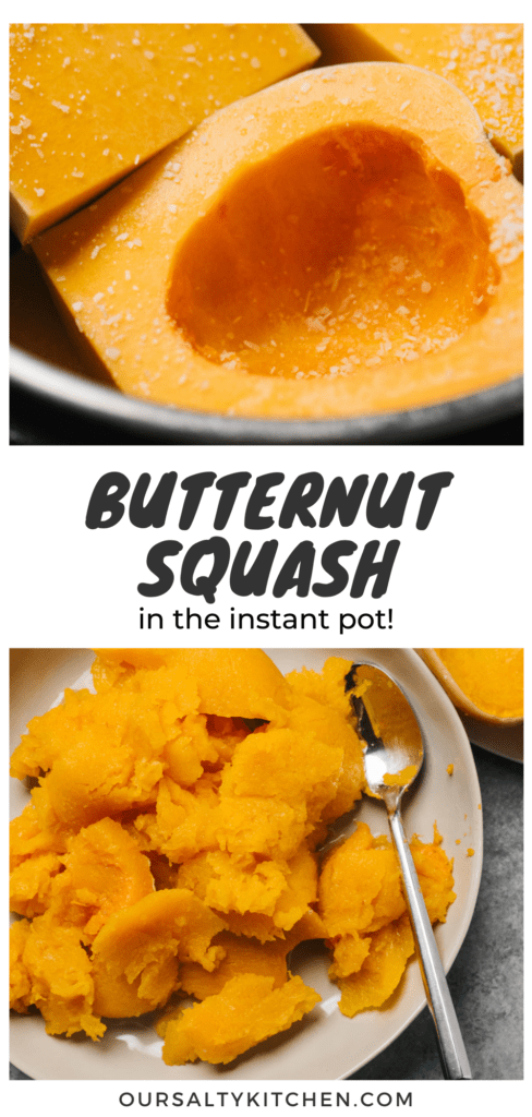 Pinterest collage for an article about making butternut squash in the instant pot.