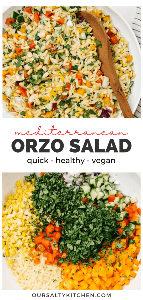 Pinterest collage for an orzo salad recipe with finely chopped vegetables, herbs, pine nuts, and lemon vinaigrette.