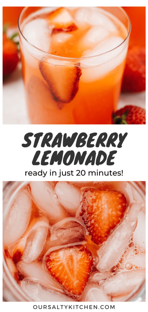 """Two images of a strawberry lemonade (top, in glasses, bottom, in a pitcher) with a title bar in the middle that reads """"strawberry lemonade - read in just 20 minutes!""""."""
