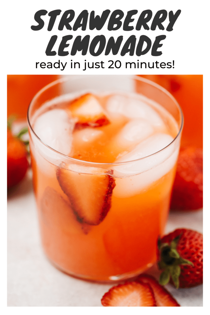 """Three glasses of strawberry lemonade garnished with sliced strawberries on a concrete background with a title bar that reads """"strawberry lemonade - ready in just 20 minutes!""""."""