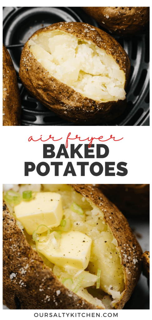Pinterest collage for a recipe for air fryer baked potatoes.