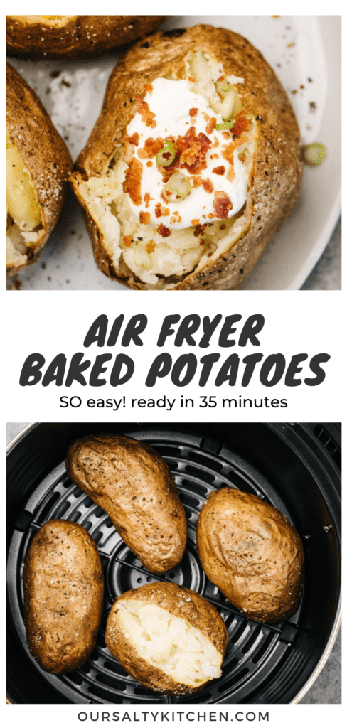 Pinterest collage for air fryer baked potatoes recipe.