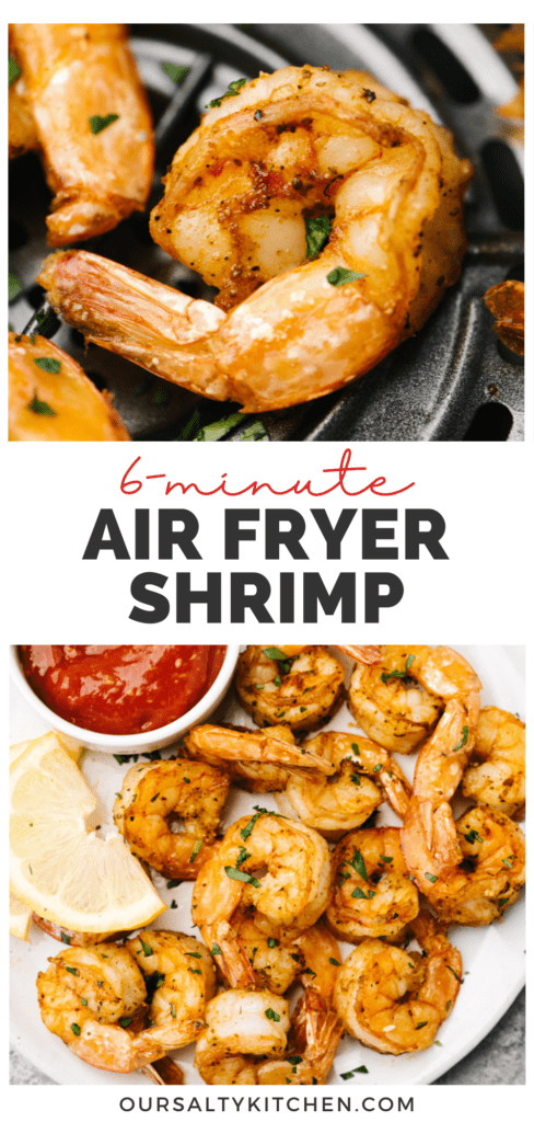 Pinterest collage for a quick and healthy air fryer shrimp recipe.