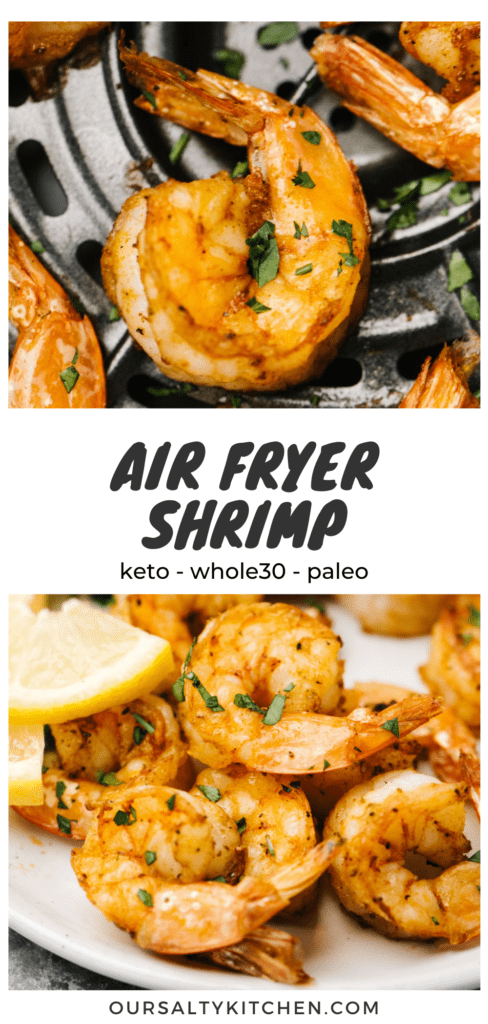 """Pinterest collage for an air fryer shrimp recipe with a title bar that reads """"air fryer shrimp - whole30, paleo, keto"""""""