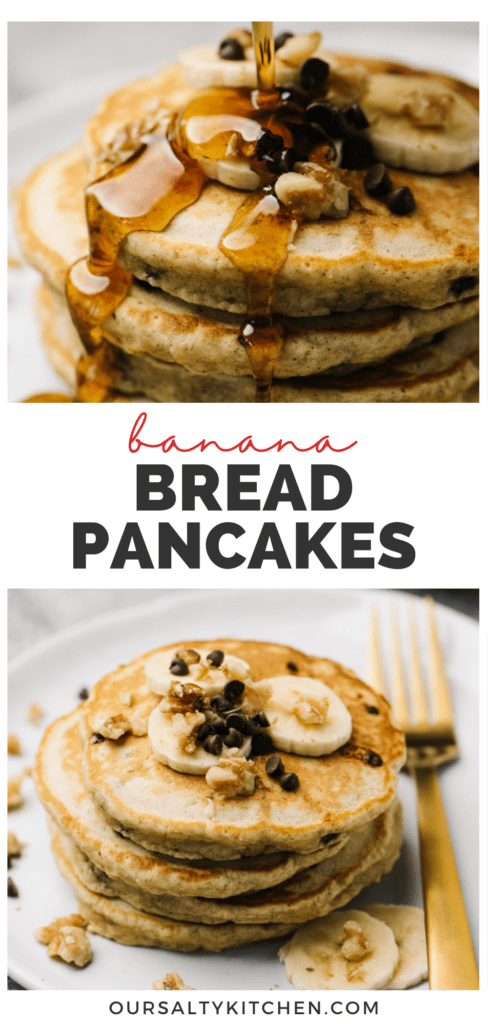 Pinterest collage for a banana bread pancakes recipe.