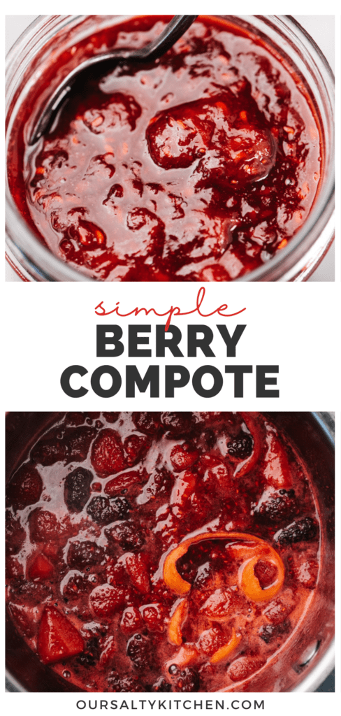 """Pinterest collage for a mixed berry compote with a title bar in the middle that reads """"simple berry compote""""."""