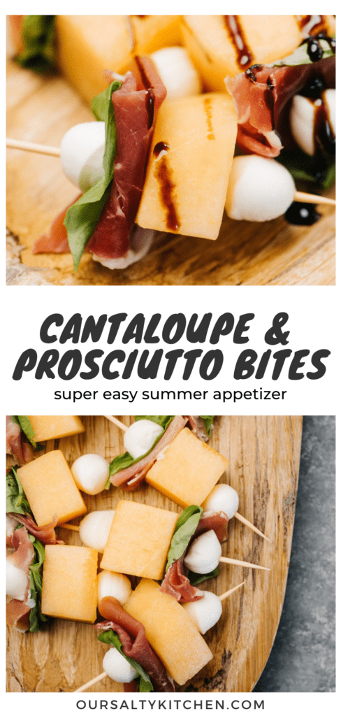 Side view, cantaloupe and prosciutto appetizer bites on a wood platter, drizzled with balsamic glaze.