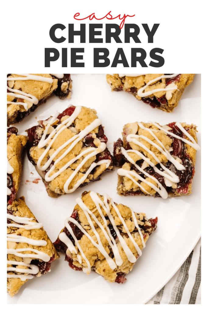 Pinterest image for easy cherry pie bars.