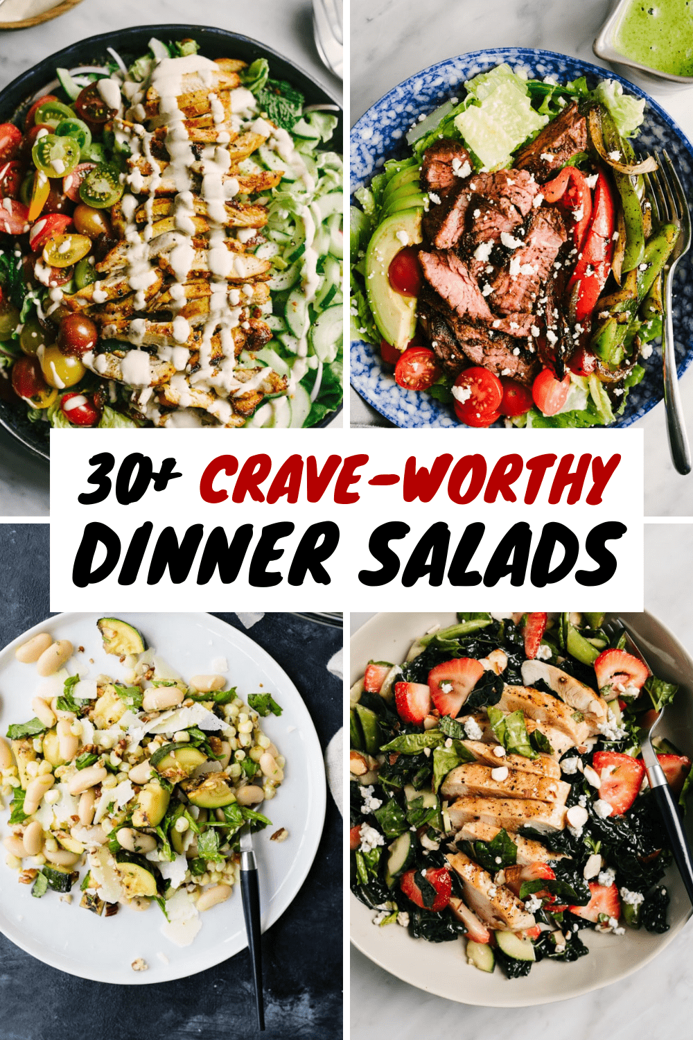 A collage of healthy dinner salad recipes.