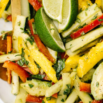 Close up view of a mango salad with avocado, bell pepper, cucumber, and lime dressing.