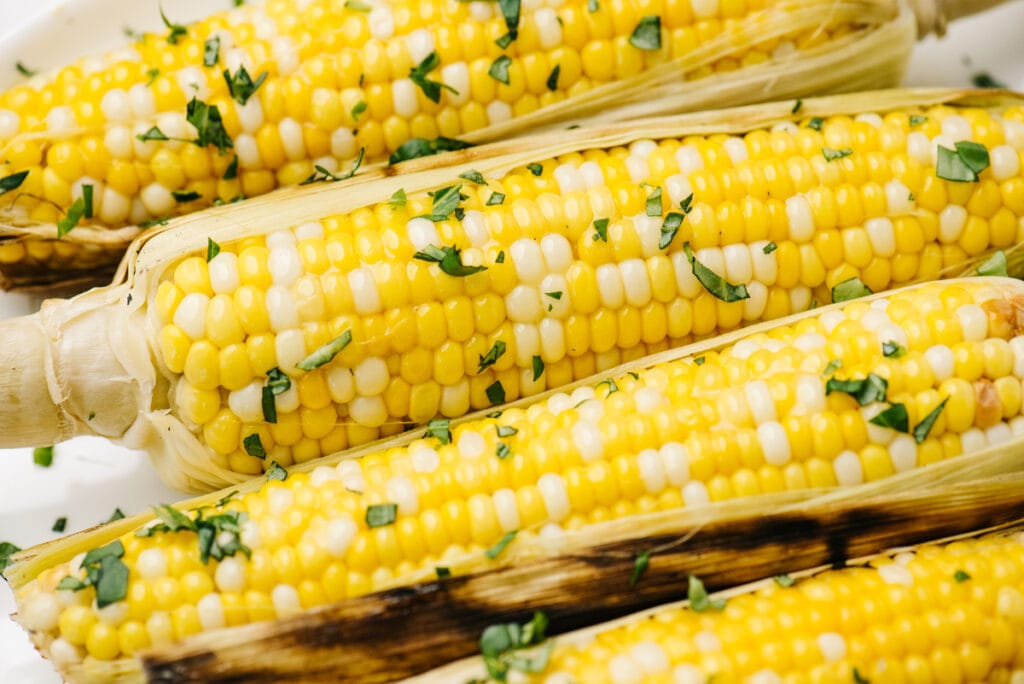 Side view, four ears of grilled corn with husks partially removed, seasoned with butter and chopped basil.