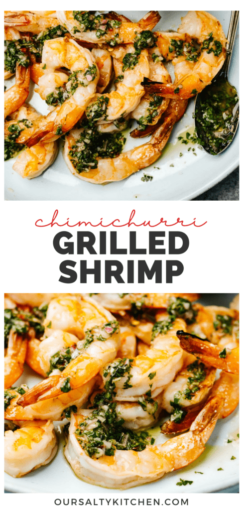 Pinterest collage for a chimichurri grilled shrimp recipe.