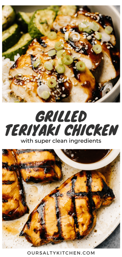 Pinterest collage for a grilled teriyaki chicken recipe.