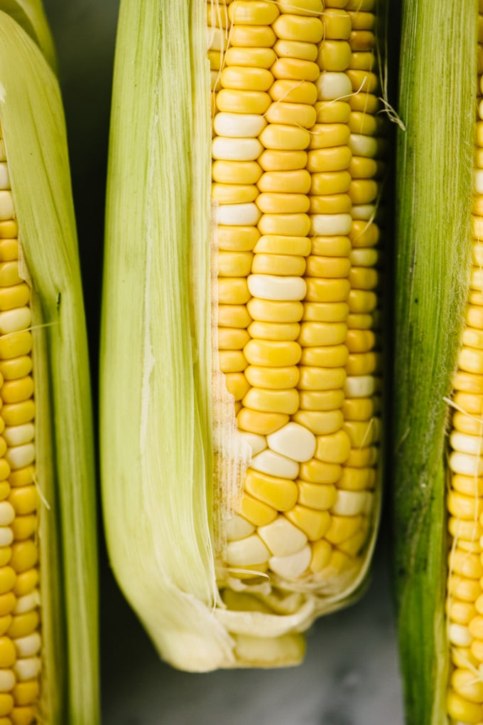 Three ears of partially shucked corn on the cob.