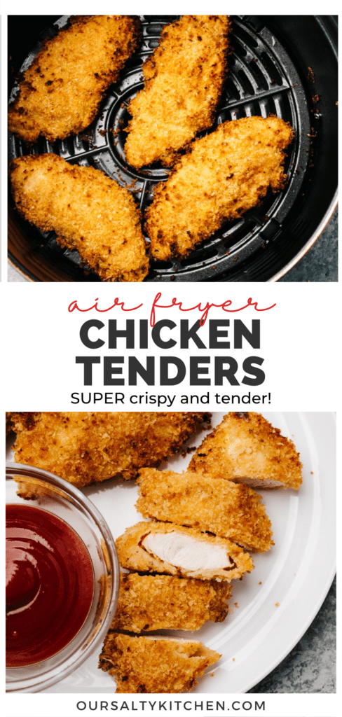 Pinterest collage for homemade chicken tenders cooked in the air fryer.