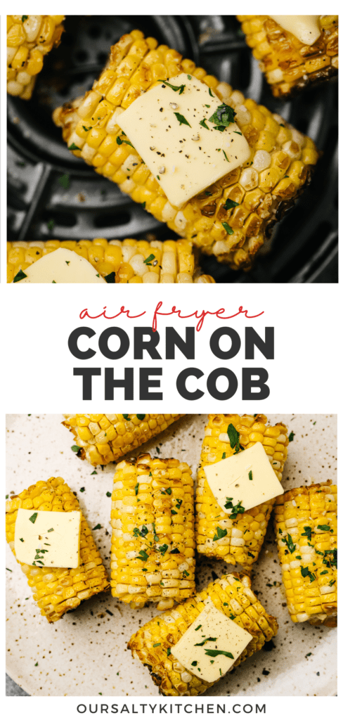 Pinterest collage for corn on the cob in the air fryer.