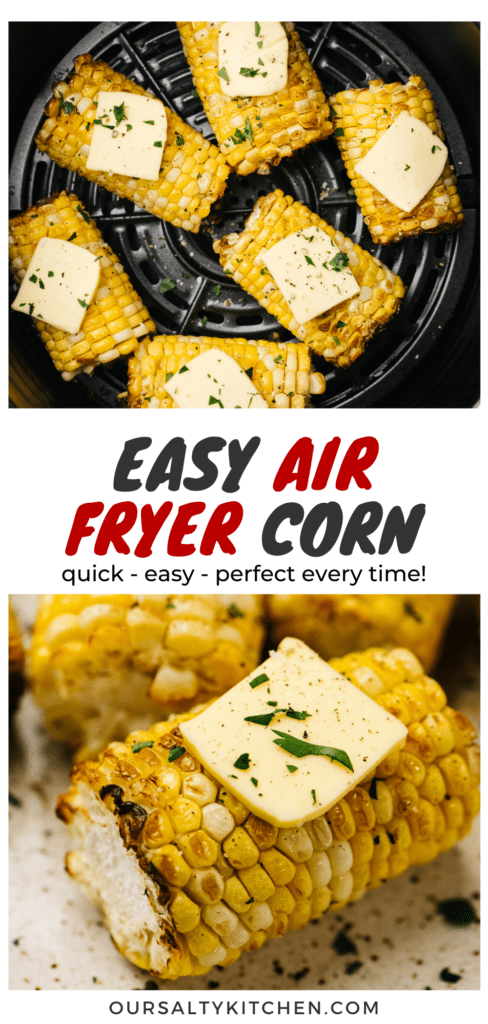 Pinterest collage for air fryer corn on the cob.