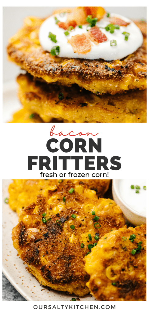 Pinterest collage for a pan fried corn fritters recipe.