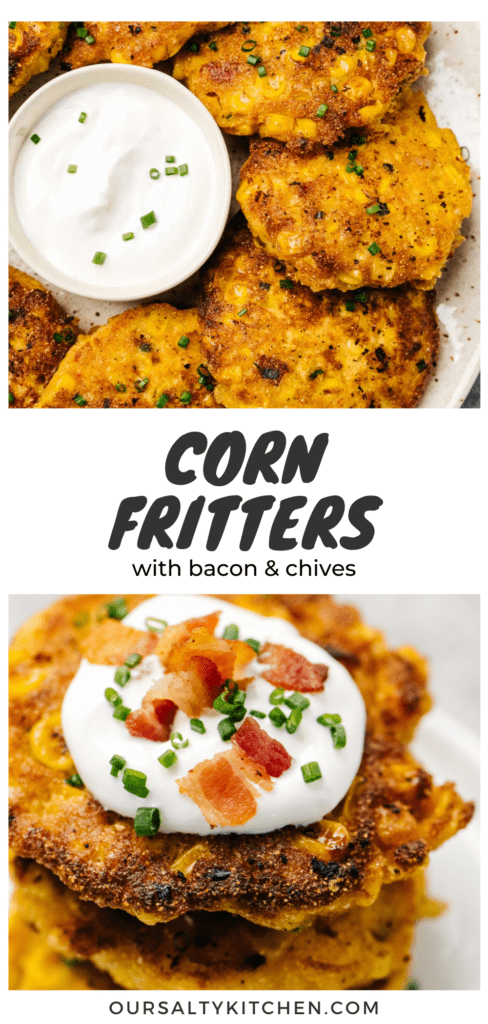 Pinterest collage for a corn fritters recipe with bacon and chives.