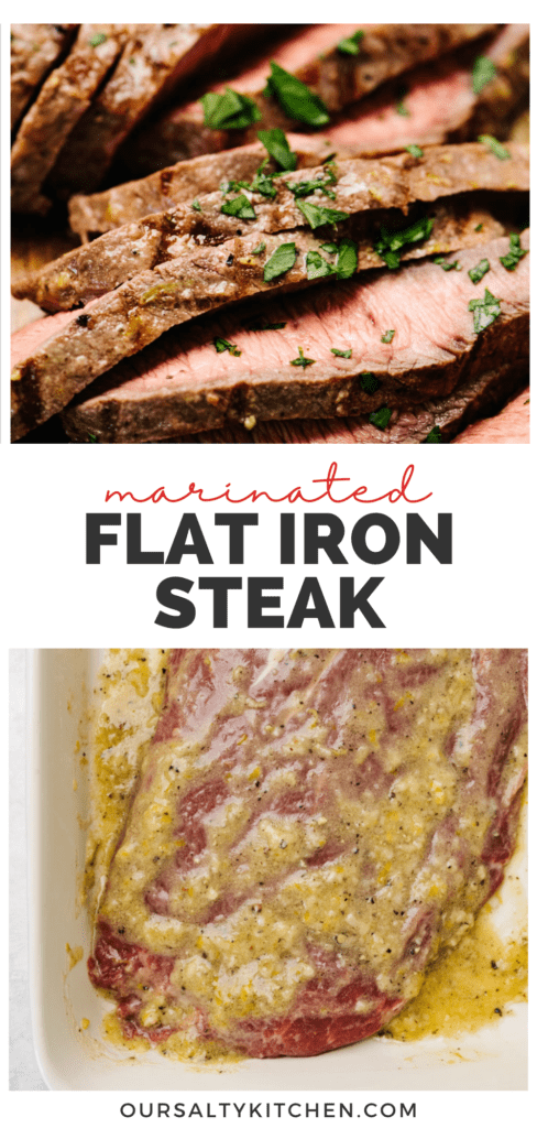 Pinterest collage for a grilled flat iron steak recipe.