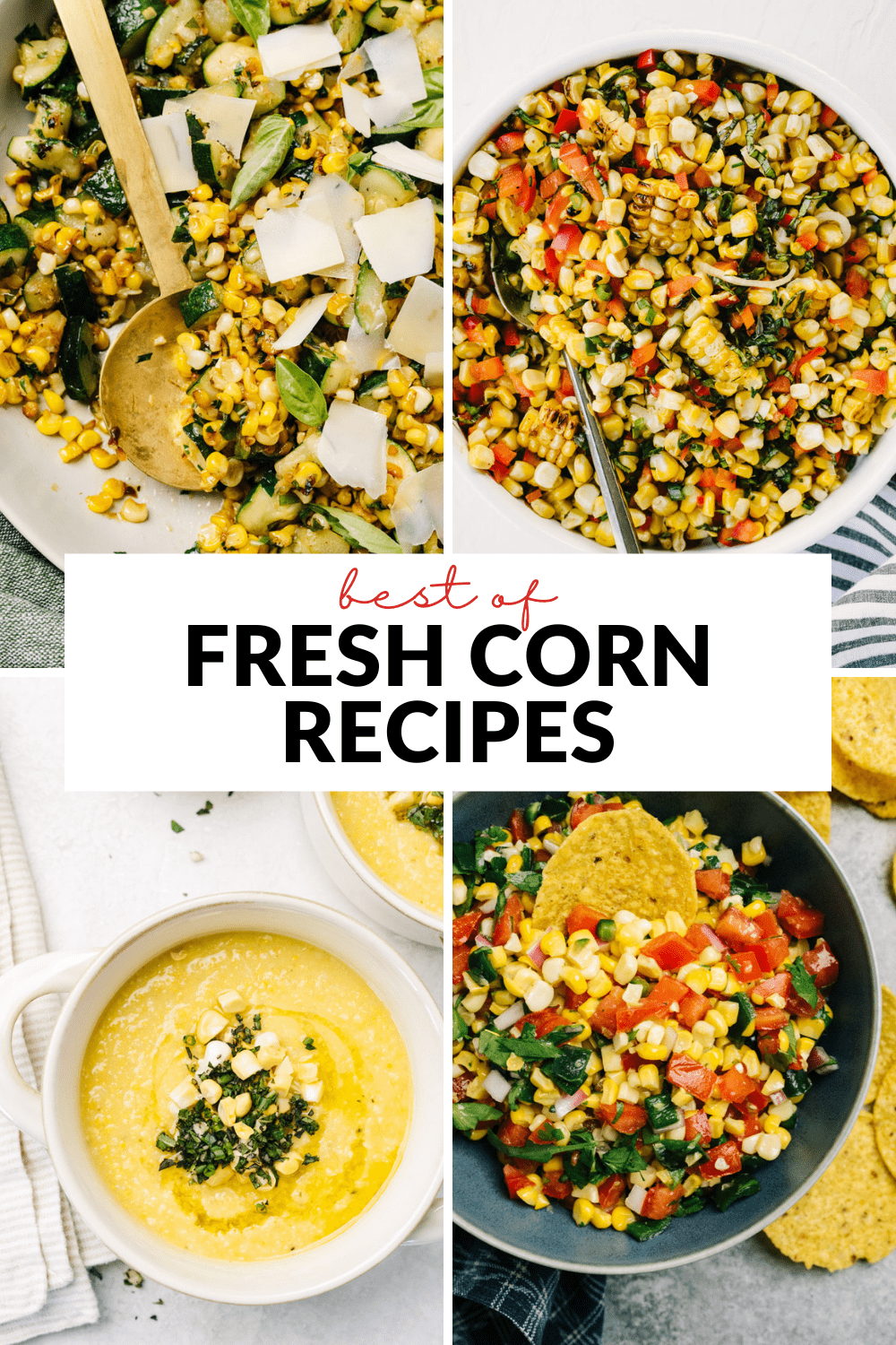 A collage of images showing summer corn recipes.