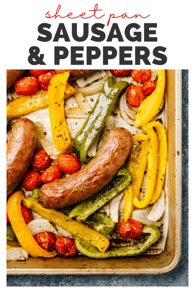 Pinterest image for sheet pan sausage and veggies recipe.