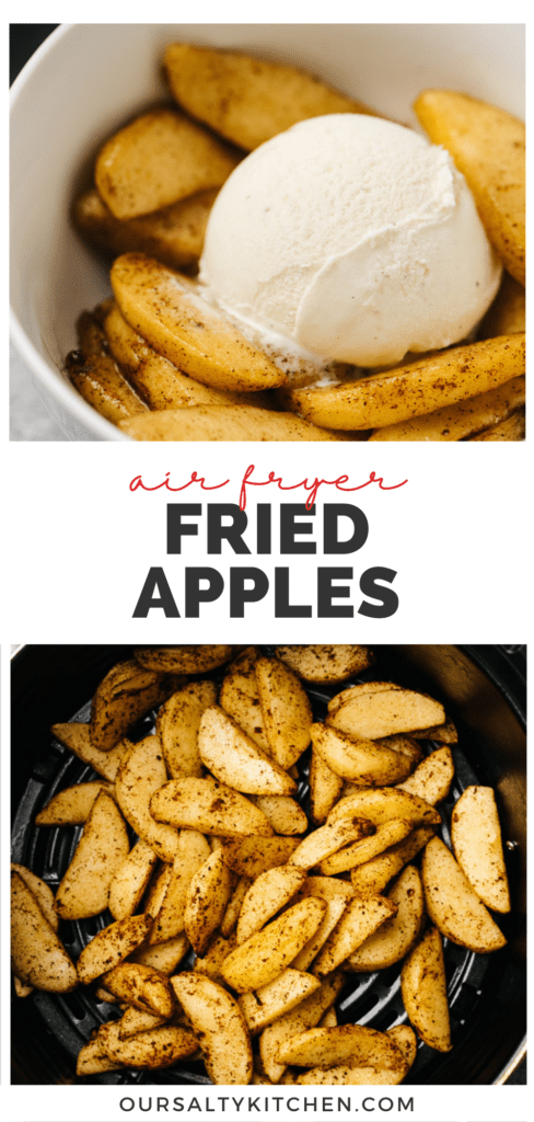 Pinterest collage for healthy fried apples cooked in an air fryer.