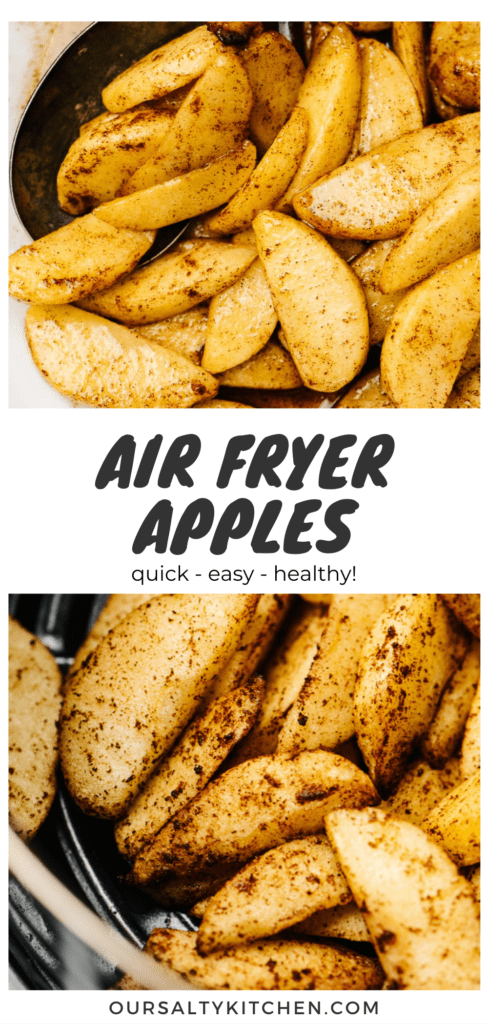Pinterest collage for an air fryer apples recipe.